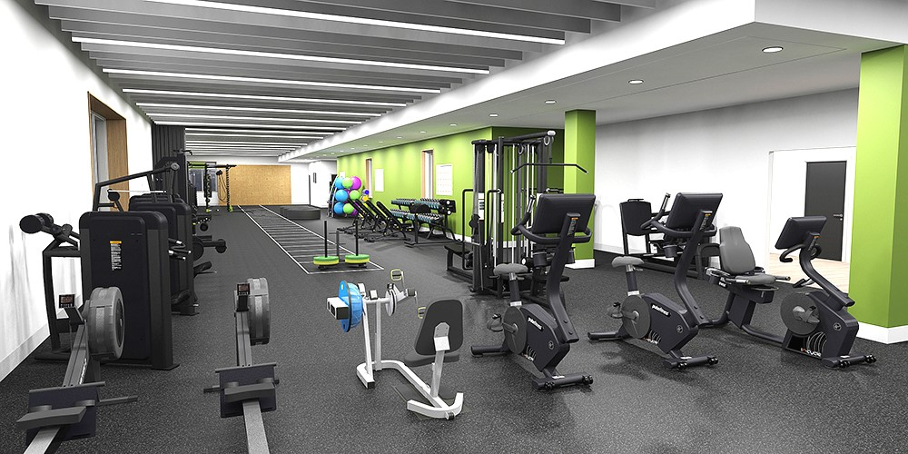 Solent University's new Sports Complex comprises two sports halls, three studios, a strength and conditioning high-performance gym, a general purpose gym accessible to the public, a sports and exercise therapy space, and personal training and teaching gyms.